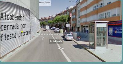 Avenida de España. Alcobendas, cerrada por fiestas